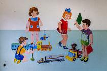 Wandmalerei im Kindergarten