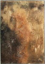 Erosión II, 1998, mixed media on strawmat, 104 x 74 cm, steel frame