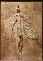 Ángel de Oro, 2009, mixed media on wood, 60x43 cm, steel frame