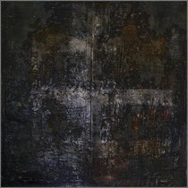 Nacht auf Stroh, 1997, Mischtechnik auf Strohmatte, 122x122 cm, Stahlrahmen