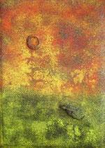 La Gartija, mixed media on wood, 70 x 50 cm