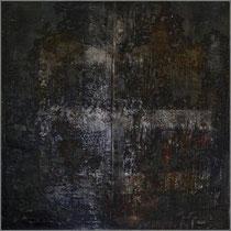 Nacht auf Stroh, 1997, mixed media on strawmat, 122x122 cm, steel frame