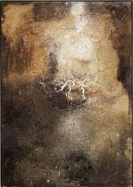 Erosión IV, 1998, mixed media on strawmat, 104 x 74 cm, steel frame