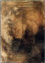 Erosión I, 1998, mixed media on strawmat, 104 x 74 cm, steel frame