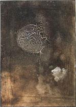 Erosión III, 1998, mixed media on strawmat, 104 x 74 cm, steel frame