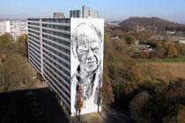Hendrik ECB Beikirch, ein 40m hohes Mural, Portrait eines alten Fischer, der seiner Arbeit nicht mehr nachkommen kann.
