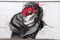 Martin Bender - im Mai 2016 auf der Wand in der Heliosstraße entstanden, ein Grace-Jones-Portrait