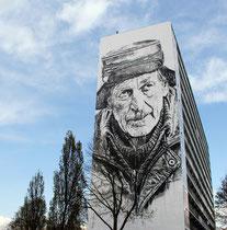 """Hendrik ECB Beikirch für die """"Heerlen Murals"""" in Brunssum, stellt einen alten Minenarbeiter in Sibirien dar."""