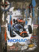 GP MONACO 1967 Collage papier & technique mixte sur châssis bois   120 cm x 90 cm 2019