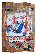 GP DE BORDEAUX 1952 Collage papier & technique mixte sur support bois 124 cm x 80 cm 2019