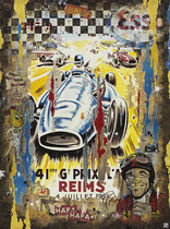 GP DE REIMS 1954 Collage papier & technique mixte sur châssis bois 120 cm x 90 cm 2019