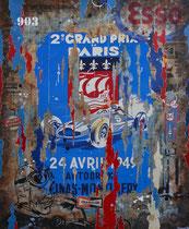 GP DE PARIS 1949  Collage papier & technique mixte sur châssis bois  120 cm x 100 cm  2016