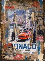 GP MONACO 1965 Collage papier & technique mixte sur châssis bois   120 cm x 90 cm 2018