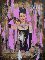 BREAKFAST AT TIFFANY'S Collage papier & technique mixte sur châssis bois  120 cm x 90 cm  2017