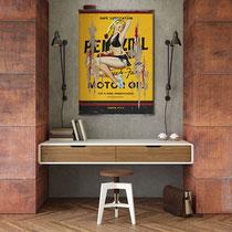 MISS PENNZOIL  Collage papier & technique mixte sur support bois 105 cm x 73 cm  2020