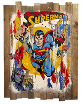 SUPERMAN Collage papier & technique mixte sur support bois  110 cm x 87 cm 2017