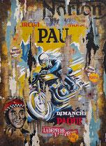GP MOTO DE PAU 1951  Collage papier & technique mixte sur châssis bois  110 cm x 80 cm 2017