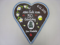Lebkuchenherz zum Geburtstag Größe 45 x 50 cm | Gewicht ca. 1.000 Gramm