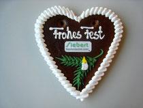 Lebkuchenherz 15 x 17 cm - Weihnachten - mit Logo aus Zuckerpapier