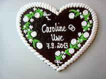 Lebkuchenherz für Hochzeit - Größe 32 x 28 cm