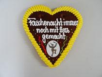 Lebkuchenherz 18 x 19 cm Fasching Huddelpätz Buchen Odenwald