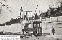 Erstes elektrisches Tram in Zürich am 8. 3. 1894
