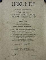 Urkunde: leistungswettbewerb Volker Müden