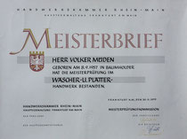 Textilreinigungsmeister Volker Müden Meisterbrief Wäscher und Blätter