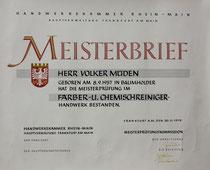 Urkunde: Meisterbrief Textilreinigung Volker Müden