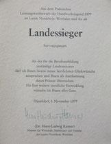 Urkunde: Landessieger Volker Müden