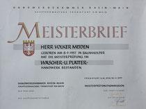 Urkunde: Meisterbrief Wäscherei Volker Müden