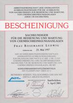 Urkunde: Bescheinigung Rosi Ludwig
