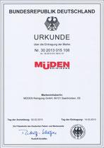 Urkunde: Mueden.de, Bundesrepublik Deutschland