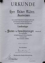 Urkunde: Beste Ausbildung Volker Müden