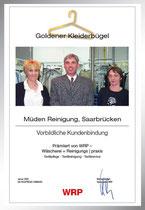 Urkunde: goldener Kleiderbügel Saarbasar, beste Kundenbindung