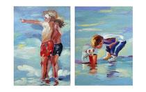 Cuadros de niños jugando en el agua en tonos azules