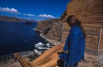 Blick von der Isla del Sol auf den Titikakasee