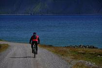 Radfahrer auf der Straße615 beim Latrabjarg-Hotel