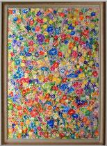 Nr.11/1 Blütenzauber    Acrylmalerei auf  Hartfaserplatten  87cm x 110cm  mit Natur Holzrahmen  Euro 650,-