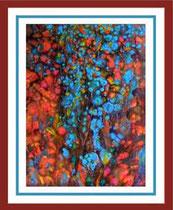Nr. 3/04 Blüten   Acryl auf Spez. Büttenpapier  70x80 cm  inkl. Karton - Passepartout   Euro  510,-  Verkauft