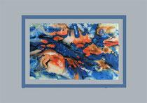 Nr. 3/01 Surreal  Acryl auf Spez. Büttenpapier 70x50 cm inkl. Karton - Passepartout, Glas, Metallrahmen Bronze eluxiert u. Rückwand   Euro 390.-