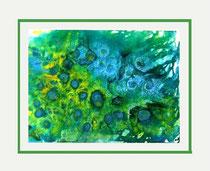 Nr. 3/02 S.Blüten  Acryl auf Spez. Büttenpapier 80x60 cm inkl. Karton - Passepartout,  Glas, Metallrahmen Silber eluxiert  u. Rückwand  Euro 420.-