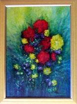 Nr. 1/04 Blumenstrauß   Acryl auf Spez. Büttenpapier  77x58 cm  Natur Holzrahmen und Glas  Verkauft