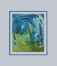 Nr. 5/15 Kosmos  Acryl Mischt. auf Spez. Büttenpapier 60x50 cm inkl. Karton - Passepartout, Glas, Metallrahmen Gold  eluxiert u. Rückwand  Euro 320,-