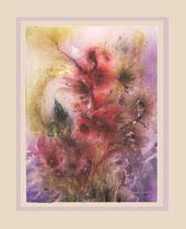 Nr.97/07 Blüten   Aquarell auf Büttenspezialpapier  Fin Art 85x68 cm inkl.Karton - Passepartout, Metallrahmen, Glas u. Rückwand   € 950.-   Verkauft