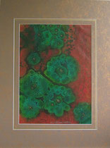 Nr. 8/01 O.T.  Acryl  Mischt. auf Spez. Büttenpapier 80x60 cm inkl. Karton - Passepartout, Glas, Metallrahmen Gold eluxiert u. Rückwand  Euro  480,-