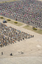 Mass Games rehearsal from the top of Arch of Triumph - Pyongyang