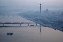 Juche Tower from the 37th floor of Yanggakdo Hotel - Pyongyang