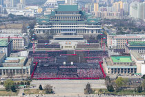Party rally in Kim Il Sung Square - Pyongyang from the top of Juche Tower