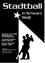Plakat für den Stadtball in Schwarz-Weiß